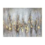 """Abstract Gleaming Gold"" Hand Painted Canvas Art"