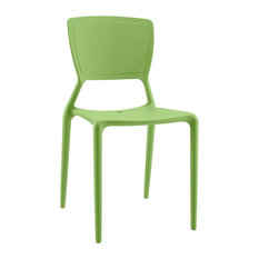Modern Contemporary Urban Outdoor Kitchen Room Dining Side Chair, Green, Plastic