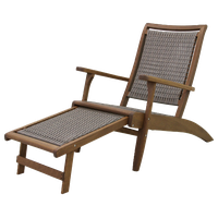 Gray Wicker and Eucalyptus Lounger With Built-In Ottoman