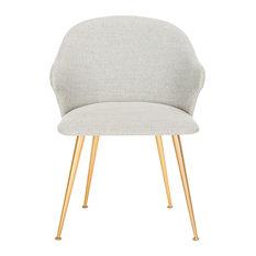 Safavieh Edmond Arm Chair, Light Gray, Gold
