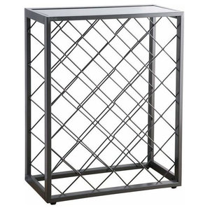 Wine Rack, Steel With Glass Table Top, Perfect for Placing Your Bottles, Pewter