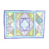 Mogulinterior - Indian Blue and Purple Patchwork Tapestry Wall Hanging Art - Tapestries