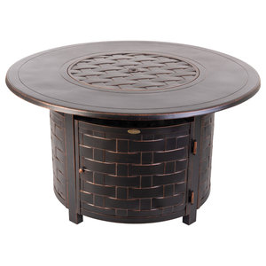 Black POLYWOOD Round 48 Fire Pit Table