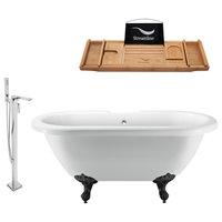 "70"" Clawfoot White Tub, Faucet and Tray Set, Black Feet, Chrome External Drain"