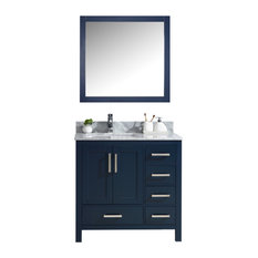 Jacques 36-inch Navy Blue Single Vanity Top Sink 34-inch Mirror Left Version