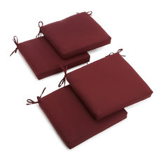 "20""x19"" Twill Chair Cushion, Set of 4, Burgundy"
