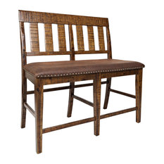 Jofran   Cannon Valley Slatback Counter Bench, Natural   Dining Benches