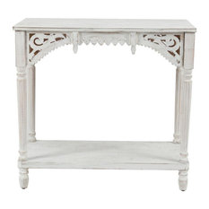 Luxen Home 32in. W White Wood Console Table