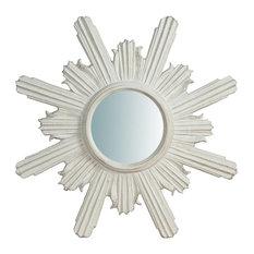 Italian Sun Wall Mirror, Antique White, 60x60 cm