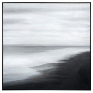 """The Shoreline"" Painting With Black Floater Frame, 60""x60"""