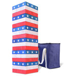 GoSports - GoSports Giant Stackin' Stars and Stripes - The GoSports Stackin' Stars and Stripes is a giant version of one of America's favorite party games. The set is made out of giant size pine wood blocks with smooth sanded edges. This set is especially unique with its America inspired Stars and Stripes design that makes it a fun and exciting addition to any family game night, holiday weekend, cookout and more! The Tower starts out at 2.5 ft tall and can grow to over 5 ft during games. The object is to pull blocks out of the body of the tower and replace them at the top without the tower falling over. The game includes a robust canvas carrying case so you can neatly store the set or bring it with you anywhere. This is by far the best giant toppling tower game available and comes with a 100% satisfaction guarantee.