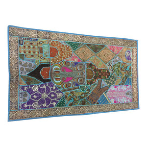 Mogulinterior - Consigned, Indian Sari Tapestry Sequin Embroidered Patchwork Wall Hanging - Tapestries