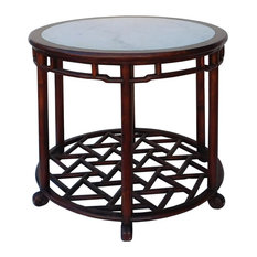 Chinese Oriental Brown Round Marble Stone Top Pedestal Table