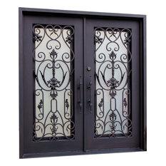 Wrought Iron Entry Double Door in Dark Bronze, Right Hand Inswing
