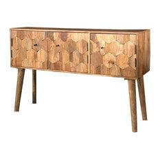 Hexagonal Light Mango Wood 3-Door Sideboard