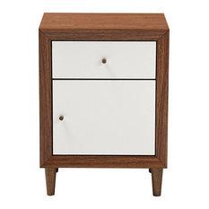 Wholesale Interiors   Harlow Mid Century White And Walnut Wood 1 Drawer/1
