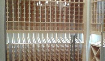 Wine cellar with sliding glass doors