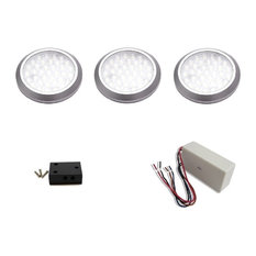 3 pc. neutral white LED puck light kit with 12W dimmable hardwire power supply
