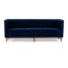 Divani Casa Miramar Modern Style Blue Velvet Finish Sofa