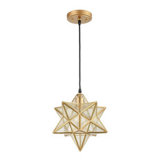 Unique Modern Pendant Lighting, Seeded Glass With Moravian Star Shape, 13.5