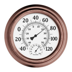 """8"""" Indoor/Outdoor Wall Thermometer by Pure Garden, Copper"""