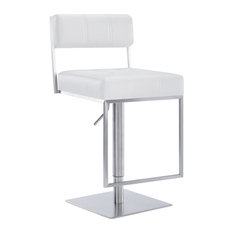 Michele Contemporary Swivel Barstool in Brushed Stainless Steel