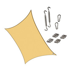 "Cool Area Rectangle 9'10""x13' Sun Shade Sail With Steel Hardware Kit, Sand"