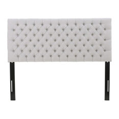 GDFStudio - Annecy Diamond Tufted Fabric Queen/ Full Headboard, Light Gray - Headboards