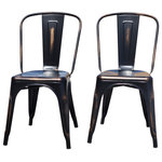 The Chair Guru - Industrial Metal Stackable Kitchen Dining Chair, Antique Copper, Set of 2 - This set of two industrial style chairs is finished in antique copper. Perfect for indoor or outdoor use, these modern chairs will compliment your restaurant, bar, bistro or kitchen.