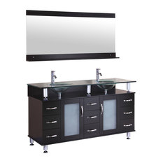 LessCare Vanity Cabinet LV1-60B With Double Sink Glass Top and Mirror