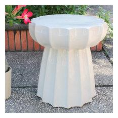 Catalina Round Scalloped Ceramic Garden Stool in Antique White