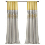 "Triangle Home Fashions - Night Sky Single Window Panel, Yellow/Gray, 84""x42"" - This unique design features a rod pocket on both the top and bottom allowing the panel to be hung from either end.  Faux silk combined with sparkling sequins give this a modern look.  The lining on the back combines to provide extra privacy and insulation.  100% Polyester"