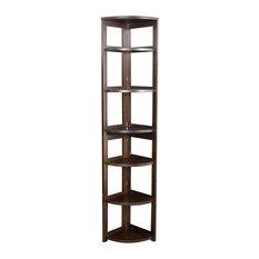 "Flip Flop 67""H Corner Folding Bookcase, Mocha Walnut"