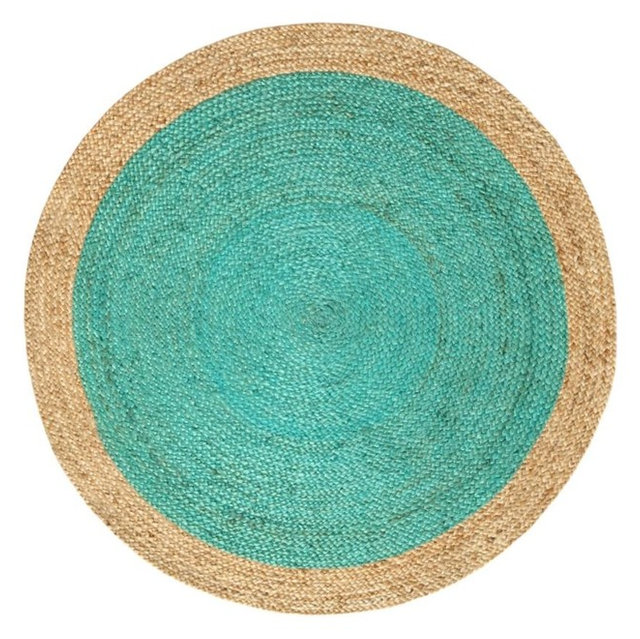 Oculus Round Jute Rug Turquoise And Natural 150 Cm
