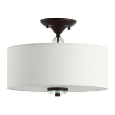 """Marc 15"""" Metal and Crystal LED Flush Mount, Oil Rubbed Bronze"""