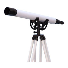 """Floor Standing Oil-Rubbed Bronze-White Leather Anchormaster Telescope, 50"""""""