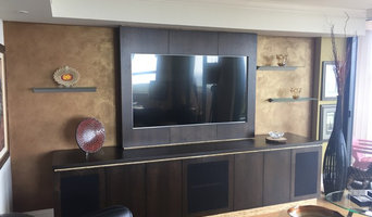 Ebonized American Black Walnut Media Cabinet and Surround Sound System