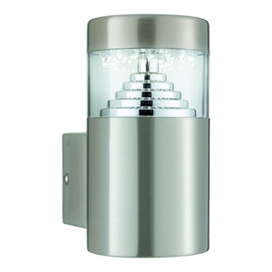 Pyramid IP44 LED Outdoor Wall Bracket Light, Square Back Plate, Stainless Steel