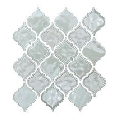 """12""""x12"""" Glazed Ceramic Arabesque Mosaic Tile, Light Gray"""