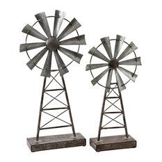 Farmhouse Windmill Table Top Decor, Set of 2