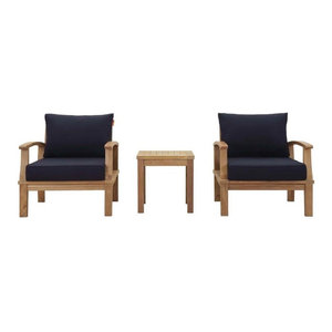 3 Piece Outdoor Teak Wood Set Natural Transitional
