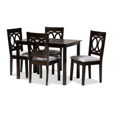 Quinn Gray Fabric Espresso Brown Finish 5-Piece Dining Set