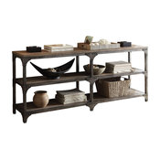 Gorden Console Table, Weathered Oak and Antique Silver, 72""