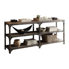 """Gorden Console Table, Weathered Oak and Antique Silver, 72"""""""