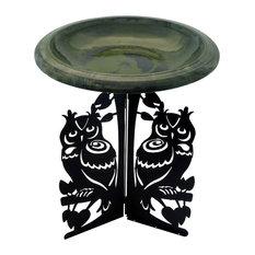 Tierra Garden Birdbath Fiber Clay Hunter Green/Black Bowl, Owl Laser-Cut Base
