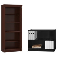 Birmingham 2 Piece Office Short and Tall Bookcase in Cherry and Black