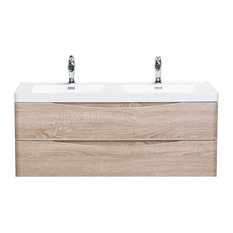 "Eviva Smile 48"" Vanity With Double Sink, White Oak"