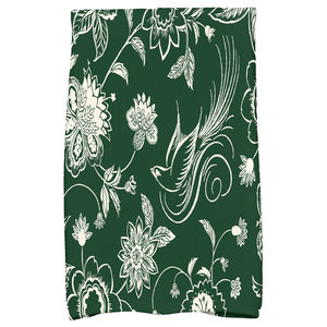 Traditional Bird Floral Decorative Holiday Floral Print Hand Towel, Dark Green