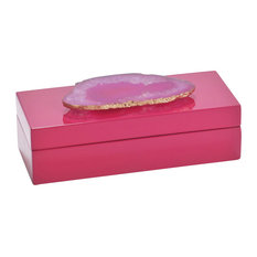Small Pink Agate Fuchsia Lacquered Box