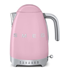 Smeg 50's Retro Style Adjustable Temperature Tea Kettle With Embossed Logo, Pink